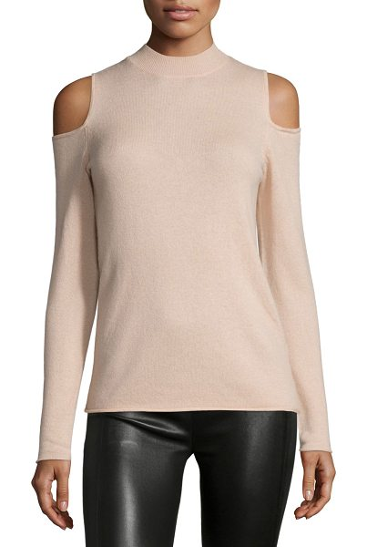 Halston Wool-Cashmere Cold-Shoulder Sweater in quartz pink - Halston Heritage cold-shoulder sweater. Crew neckline....