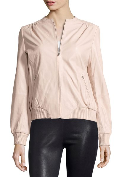 HALSTON Zip-front leather bomber jacket - Halston Heritage leather jacket. Jewel neckline; zip...
