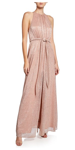 Halston High-Neck Sleeveless Metallic Knit Gown with Strappy-Back in blush