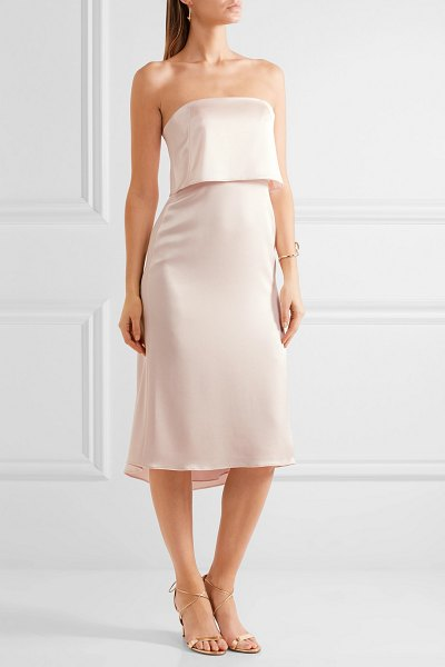Halston layered satin dress in blush - Halston Heritage's dress is perfect for modern brides,...