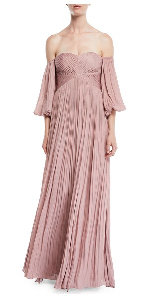 Halston Off-the-Shoulder Pleated Gown in pink