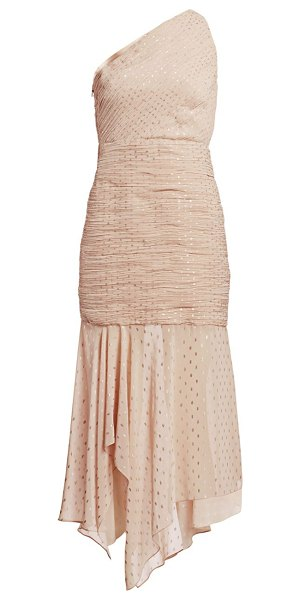 Halston one shoulder pleated metallic polka dot trumpet dress in champagne gold