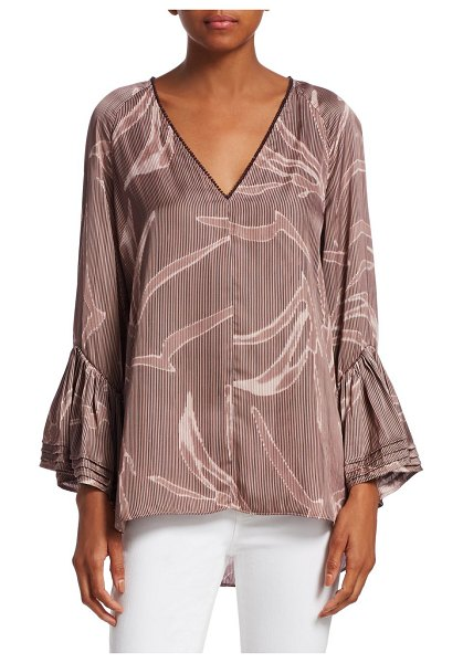 Halston printed tiered bell-sleeve top in tuberose - Flowy printed blouse flaunts oversize tiered bell cuffs....