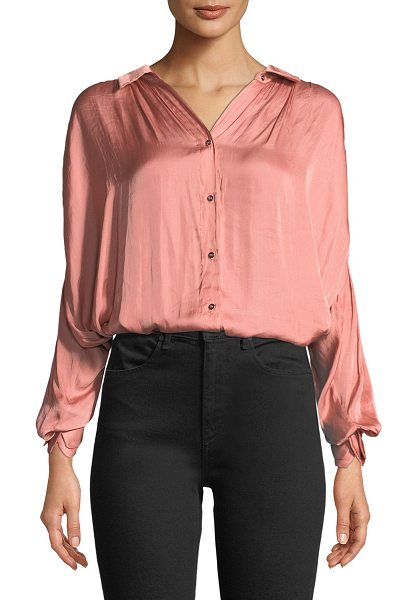 Halston Ruched Satin Button-Up Blouse in bisque - Halston Heritage blouse in washed satin with ruched...