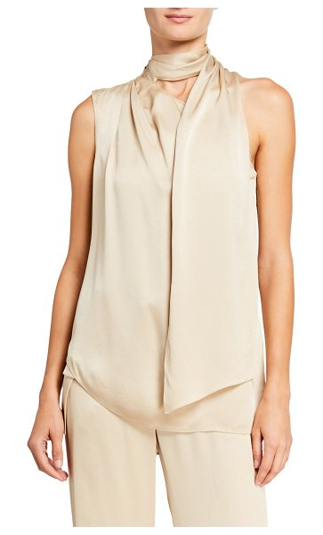 Halston Scarf Neck Sleeveless Satin Top in biscotti