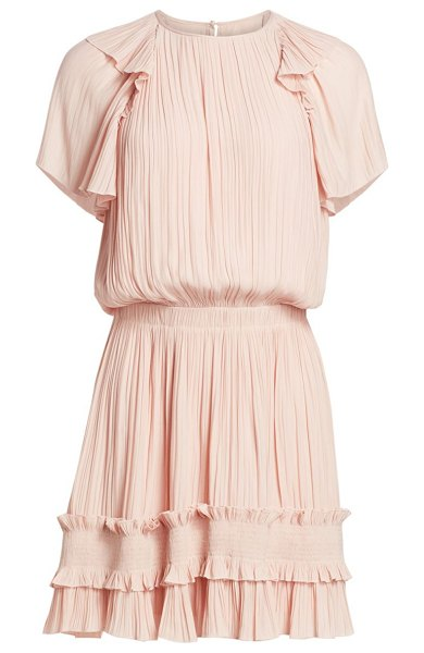 Halston short-sleeve pleated georgette dress in bloom