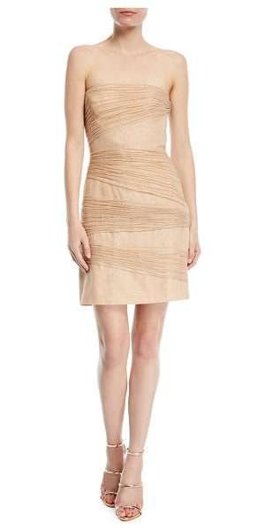 HALSTON Strapless Metallic Layered Mini Dress - Halston Heritage metallic layered mini dress....