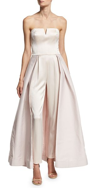Halston Strapless Skirted Satin Jumpsuit in primrose - Halston Heritage jumpsuit in satin, featuring a skirted...