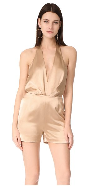 HANEY delphine romper in sand - A plunging neckline brings flirty style to this lustrous...