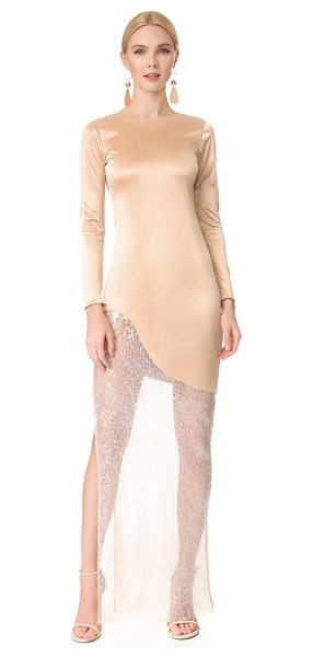 HANEY josephine long sleeve dress in pink dune - A lustrous, fluid HANEY dress in a floor-length...