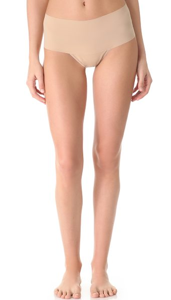 Hanky Panky bare godiva high rise thong in taupe - A high-waisted thong with a smooth, seamless waistband....