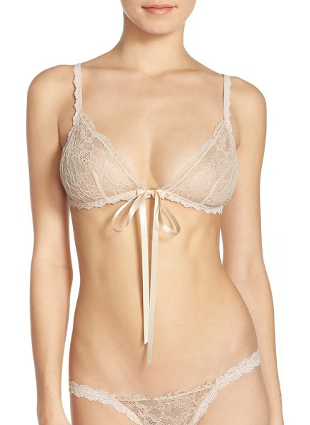 Hanky Panky celeste tie front bralette in champagne/ gold - Barely there floral lace veils a triangle-cup bralette...