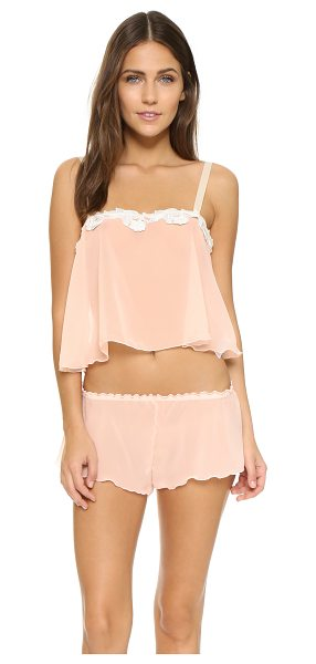 Hanky Panky Chiffon crop cami & tap pants sleep set in vanilla - A delicate chiffon sleep set from Hanky Panky. The lace...
