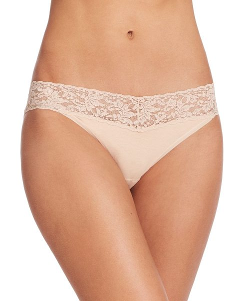 Hanky Panky cotton v-kini bikini in chai - Organically grown Supima cotton is met with spandex to...