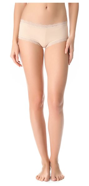 Hanky Panky cotton with a conscience boy shorts in chai - Soft jersey boy shorts, trimmed in tonal lace for a...