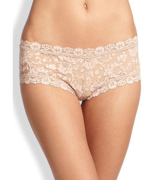 Hanky Panky lace boyshorts in taupe vanilla - Alluring wardrobe staple shaped in delicate floral lace....