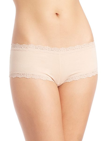 Hanky Panky lace-trim organic cotton boyshorts in chai