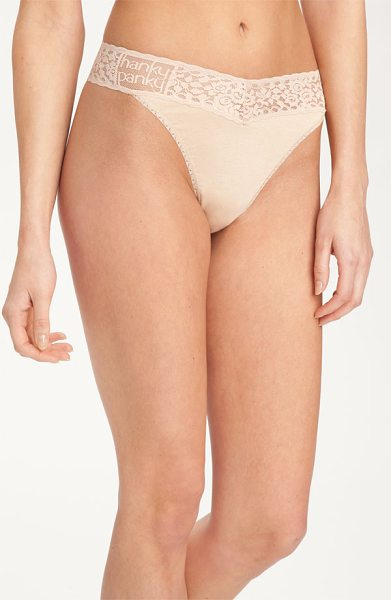 Hanky Panky logo original rise thong in chai - A logo brands the lace waistband of a soft, stretchy...