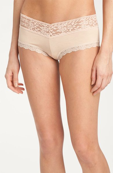 Hanky Panky 'logo to go' boyshorts in chai - A logo brands the wide, stretchy waistband designed with...