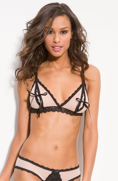 Hanky Panky nude illusion bralette in mocha / black - Inviting satin ribbons keep the spliced triangle cups...