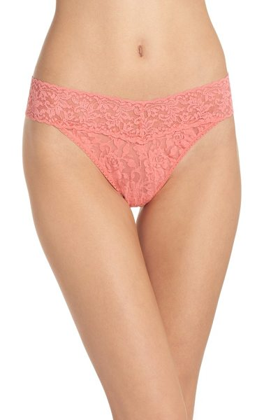 HANKY PANKY original rise thong in peachy keen - Fabulously soft and stretchy lace design feels great on...