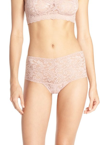 Hanky Panky retro high waist thong in desert rose - An extra-wide waistband gives a supersoft stretch-lace...