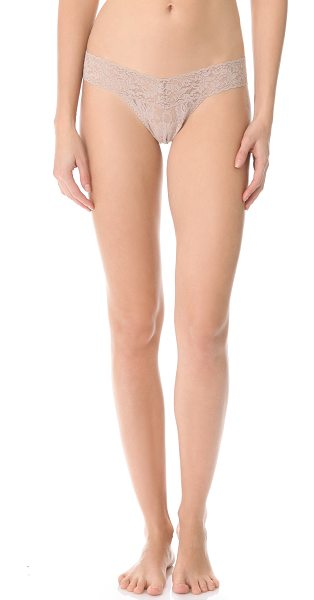 Hanky Panky signature lace low rise thong in taupe - A signature Hanky Panky low-rise thong in sheer,...