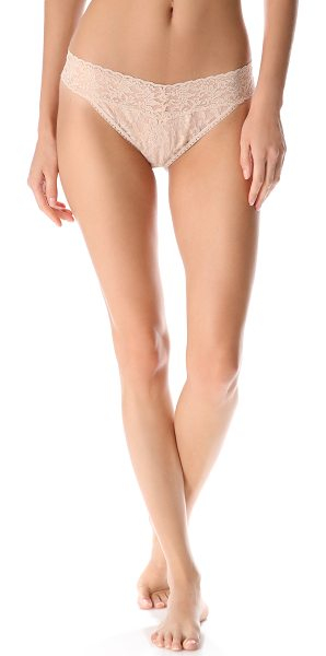 Hanky Panky signature lace original rise thong in chai - Stretch lace Thong panty Partially lined Semi-sheer...