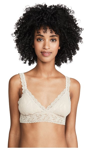Hanky Panky signature lace padded crossover bralette in chai