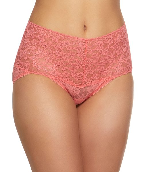 Hanky Panky Signature Lace Retro V-Kini Briefs in peach - From the Signature Lace collection. Choose navy or candy...