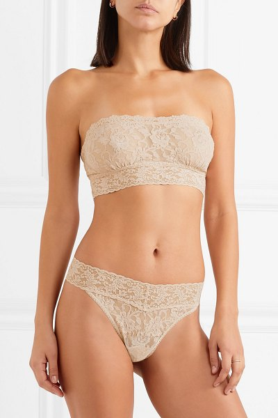 Hanky Panky signature stretch-lace soft-cup bandeau bra in neutral - Hanky Panky's signature stretch-lace fabric is known for...
