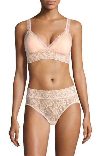 Hanky Panky solid lace bra in chai - Floral lace trims this padded bra for a hint of romance...