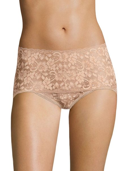 Hanky Panky cross-dyed retro vikini in taupe - Floral lace with scalloped trim high-waisted brief....