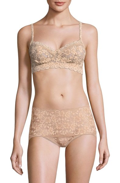 Hanky Panky cross-dyed retro bralette in taupe - Featuring floral lace and scalloped trim details....