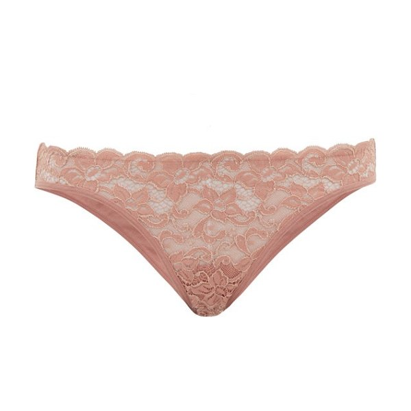 Hanro moments floral-lace briefs in dark pink
