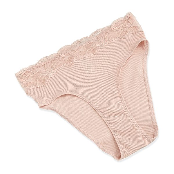 Hanro Valencia high-cut lace-trim bikini briefs in dusty rose