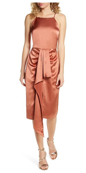 Harlyn ruched satin midi dress in brown