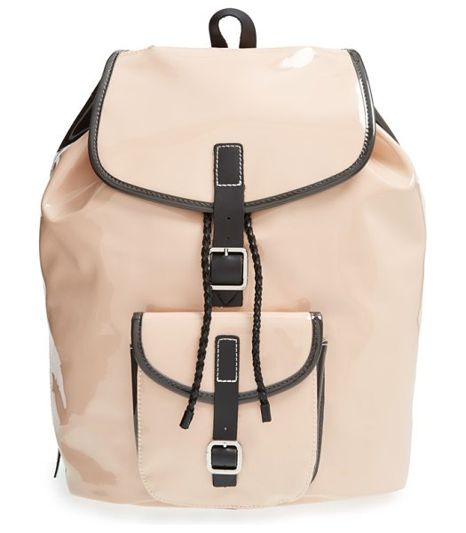 HARPER AVE Minjun faux patent leather backpack - Done in a trend-right blush hue, this glossy faux patent...