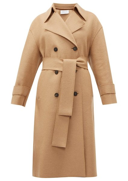 Harris Wharf London double breasted wool trench coat in camel