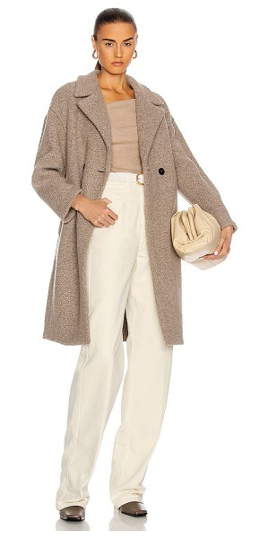 Harris Wharf London dropped shoulder double breast coat in taupe