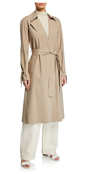 Harris Wharf London Raglan Light Trench Coat w/ Tie Cuffs in camel