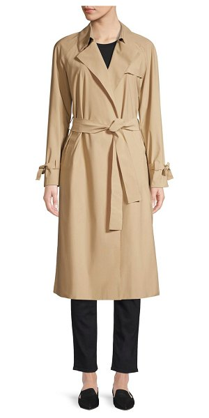Harris Wharf London self-tie raglan trench in camel - Sleeve tie details give a feminine twist to the classic...