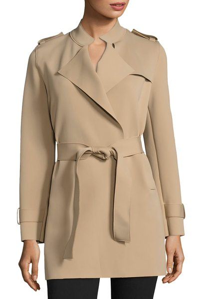 Harris Wharf London solid trench coat in caramel - Luxurious trench coat renders warmth and style. Stand...
