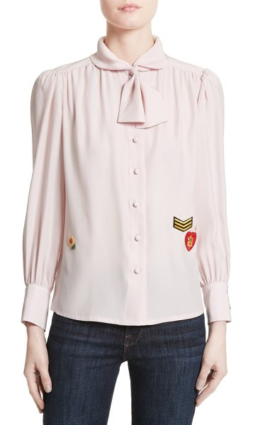 Harvey Faircloth boy scout patch silk blouse in blush - Blending ladylike sophistication with tomboyish spirit,...