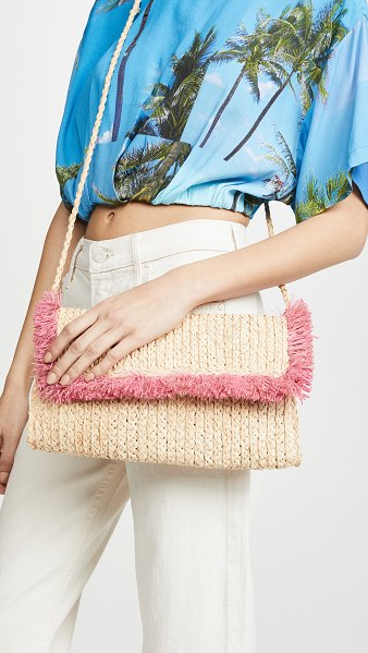 Hat Attack fringe clutch in pink