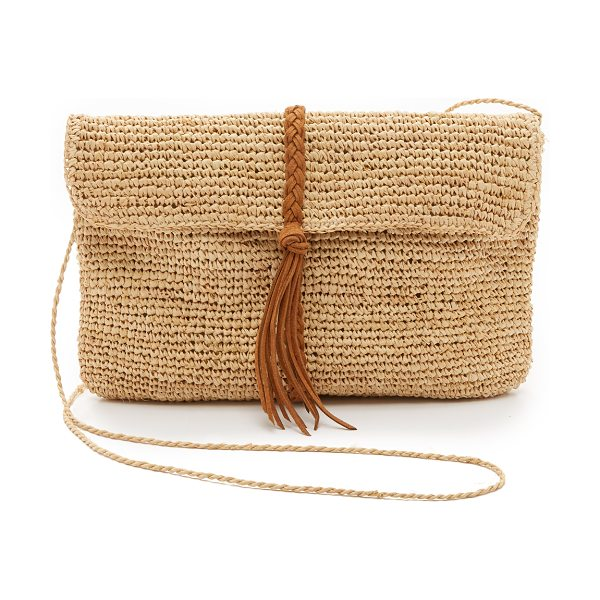 Hat Attack raffia clutch with braid in tobacco braid - A slouchy Hat Attack clutch in woven straw, detailed...