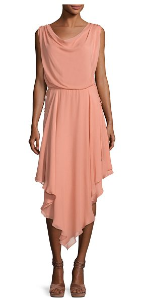 "Haute Hippie Anastasia Draped Chiffon Dress W/ Asymmetric Hem in pink - Haute Hippie ""Anastasia"" layered chiffon dress. Cowl..."