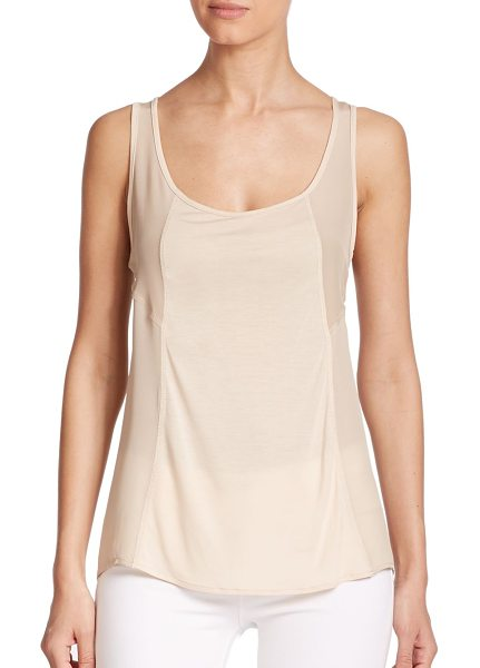 HAUTE HIPPIE Big easy scoopneck tank top in buff - A sheer finish transforms this signature tank from...