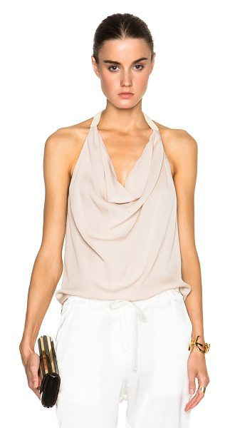 Haute Hippie Cowl neck top in neutrals - Self: 100% silk - Lining: 100% poly.  Made in China. ...