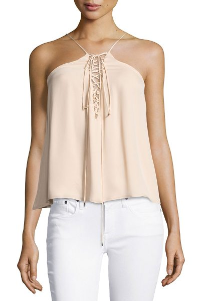 "HAUTE HIPPIE Cross My Heart Grecian Laced Silk Camisole - Haute Hippie ""Cross My Heart"" camisole, featuring a..."